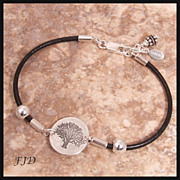 "SALE ""Tree of Life"" Fine Silver and Leather Bracelet"