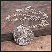 Two Sided Fine Silver Pendant and Sterling Silver Necklace
