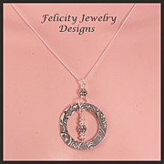 """Eternity"" Fine and Sterling Silver  Circle Necklace"
