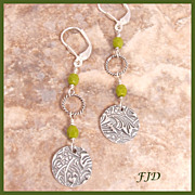 """Olive""  Fine Silver, Czech Glass and Sterling Silver Earrings"