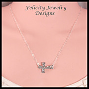 """Mya"" - Fine and Sterling Silver Sideways Cross Necklace"