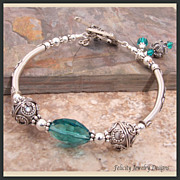 """Bali Bangles"" Bali SIlver and Crystal Bangle Bracelet"