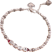 Sterling Silver and Birthstone Name Bracelet