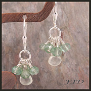 Prehnite and Mystic Quartz Earrings