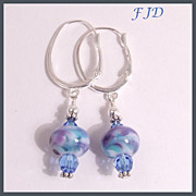 Lampwork Glass Bead and Sterling Silver Earrings