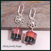 Boro Lampwork Glass and Sterling Silver Earrings