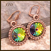 """Kristin"" Swarovski Crystal and Antiqued Copper Earrings"