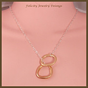 """Eternity"" - Bronze and Sterling Silver Lariat Style Necklace"