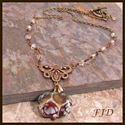 Boro Lampwork Bead and Antiqued Brass Necklace
