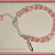 Ballerina Dance Children's Bracelets - Czech Glass Bead and Fiber Optic Bead  Charm Bracelet