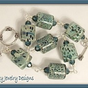 "Customized ""Wish Bracelet"" - Borosilicate Lampwork Glass and Sterling Silver Bracele"