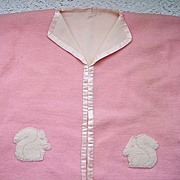 SALE Vintage 1920's Child's Wool Bath Robe ~ Squirrel applique, silk trim