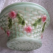 SALE Vintage Glass Ceiling Light Shade ~ Large Basket design w/ Roses