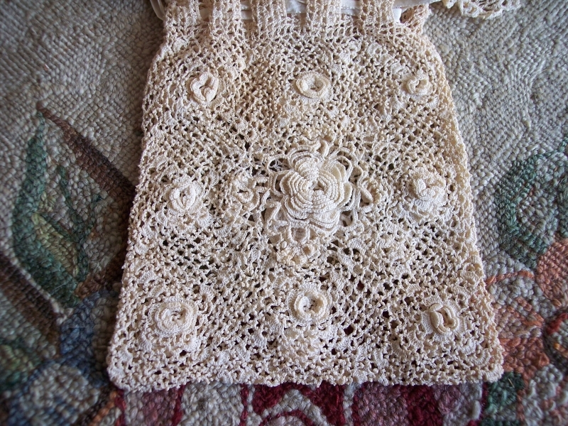 Irish Crochet Bag Free Pattern : Vintage Fine Irish Crochet Lace Silk Drawstring Purse Bag ...