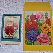 SALE Vintage Garden Seed Packet Envelopes ~ Sweet Peas ~ Floral Lithos