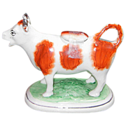 SALE Early 1800s Staffordshire Cow Creamer