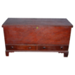 Country Chippendale Two-Drawer Dower Chest in Old Red Paint