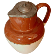 SALE Doulton Lambeth Salt Glaze Pitcher with Pewter Lid