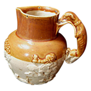 SALE Salt Glaze Hound-Handle Pitcher