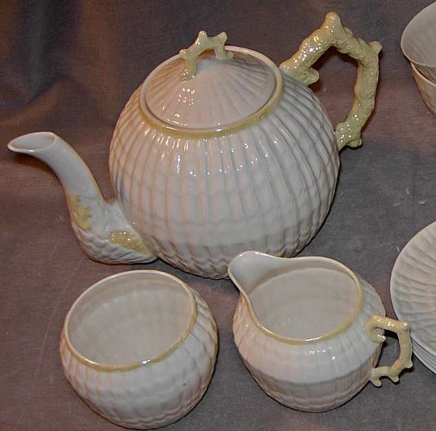 20 piece irish belleek limpet pattern tea set from