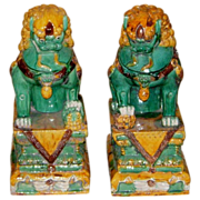 Pair of Antique Lion Foo Dogs