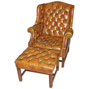Lloyds of Long Beach Leather Chair & Ottoman