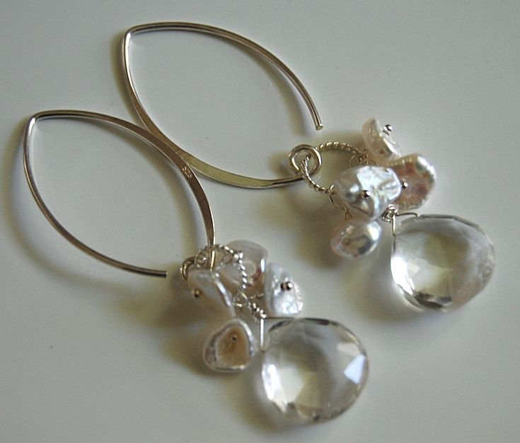 Rock crystal quartz and keishi pearl earrings