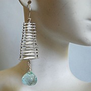 Aquamarine quartz onion briolette  dangle earrings