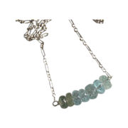 Ice Blue Aquamarine Necklace with Sterling silver Chain
