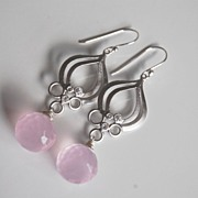 Rose Quartz Onion briolette dangle Earrings