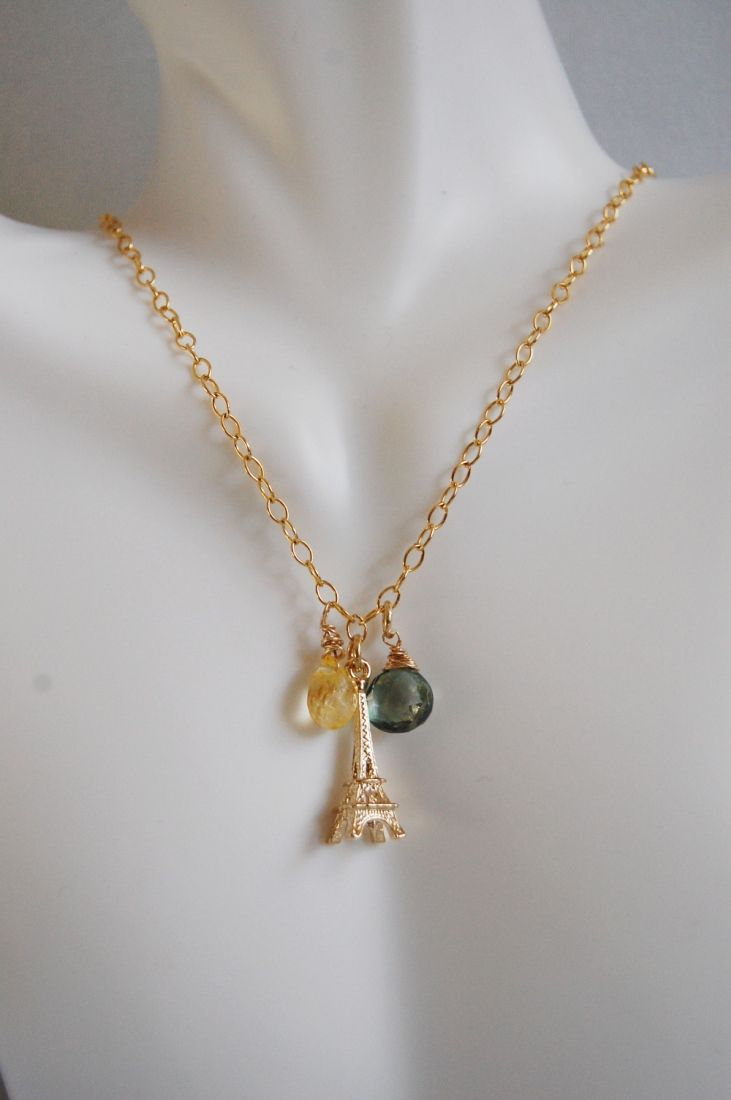*  Green Mystic Quartz, Citrine and Eiffel tower Charm Necklace