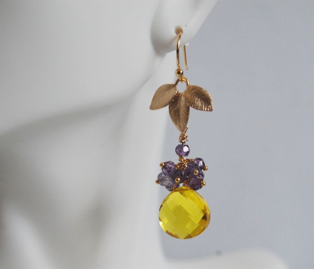 Gorgeous Yellow Quartz And shades Amethyst dangle earrings