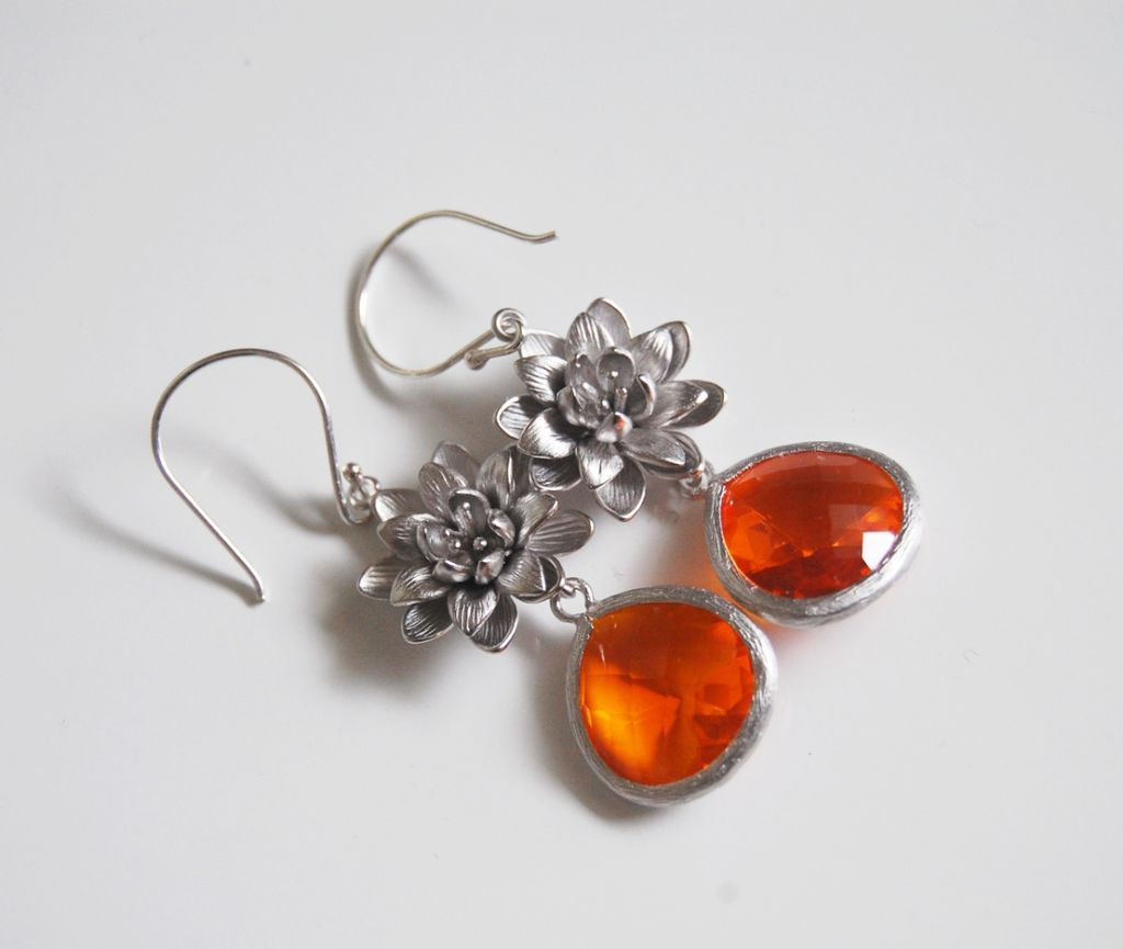 Bezel setting Glass Fireopal fancy drop dangle earrings