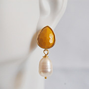 Yellow glass drop and pearl dangle earrings