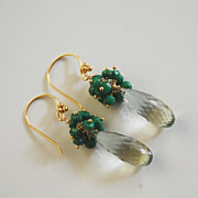 Gorgeous Green Amethyst and Genuine Emerald Dangle Earrings