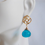 London blue quartz Onion Briolette dangle earrings