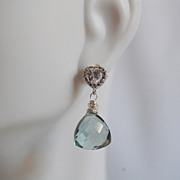 Cute Little Sage Green Quartz Dangle Earrings