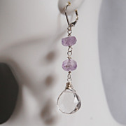 Gorgeous Amethyst And Crystal Quartz Heart Briolette Dangle Earrings