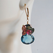 Gemstone earrings-Gorgeous London Blue Quartz- Multi tourmaline - gold filled Earrings