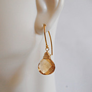 Beer Quartz Gemstone Dangle Earrings