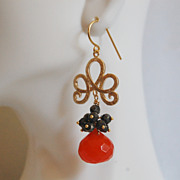 Gorgeous Orange color Onion Briolette- Pyrite- Gemstone Earrings-Dangle Earrings