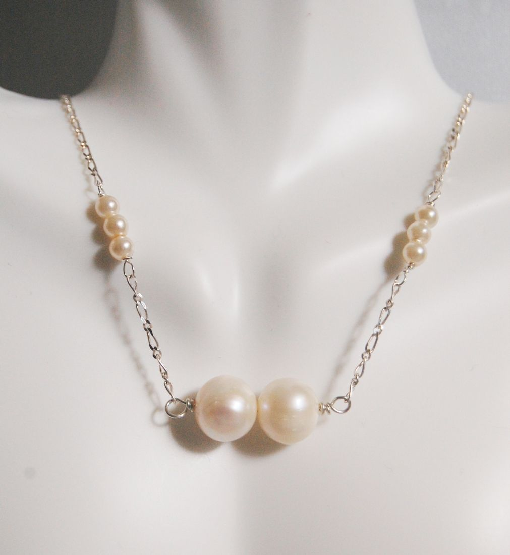 Cultured  Fresh Water pearl Necklace in Sterling silver Chain