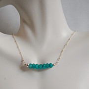 Brazilian Amazonite Necklace - Gemstone Amazonite necklace, Beaded Necklace,Sterling silver Ch