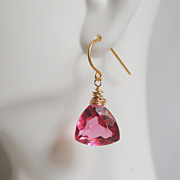 Gemstone Pink Tourmaline Quartz Dangle Earings
