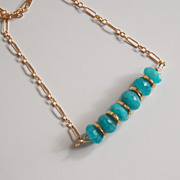 Brazilian Amazonite Necklace - Gemstone Amazonite necklace, Beadwork Necklace,Gold filled Chai