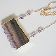 Gemstone Amethys Necklac-Amethyst Slices 24k gold edge double bail necklace - Handmade Druzy a