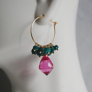 Gemstone Hoop Chandelier Earrings - Hot Pink Quartz and Gorgeous Emerald Hoop Chandelier Earri