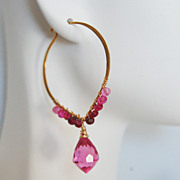 Gemstone Hoop Earrings - Hot Pink Quartz and Shaded Ruby Hoop Chandelier Earrings