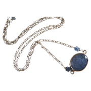 Wedding Jewelry - Bezel setting Iolite Blue sapphire rondelles Pendant necklace on Sterling si