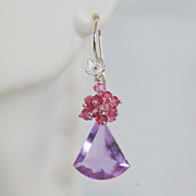 Lavender Pink Quartz Cluster Dangle Earrings - Gemstone pink Cluster Drop Earrings